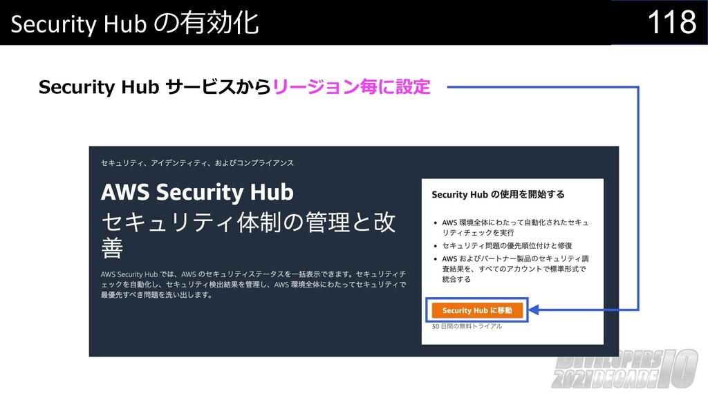 118 Security Hub の有効化 Security Hub サービスからリージョン毎...