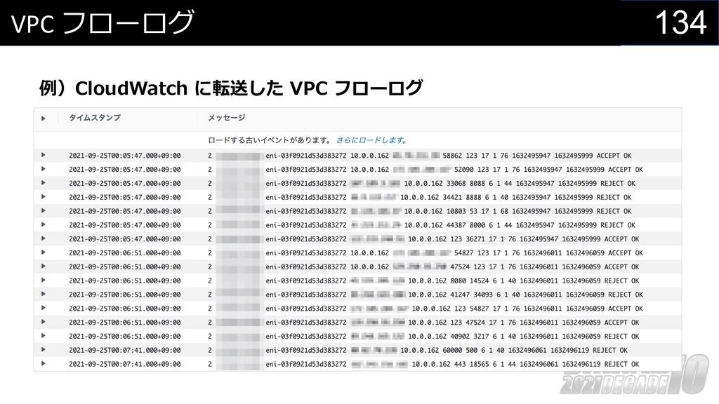 134 VPC フローログ 例)CloudWatch に転送した VPC フローログ