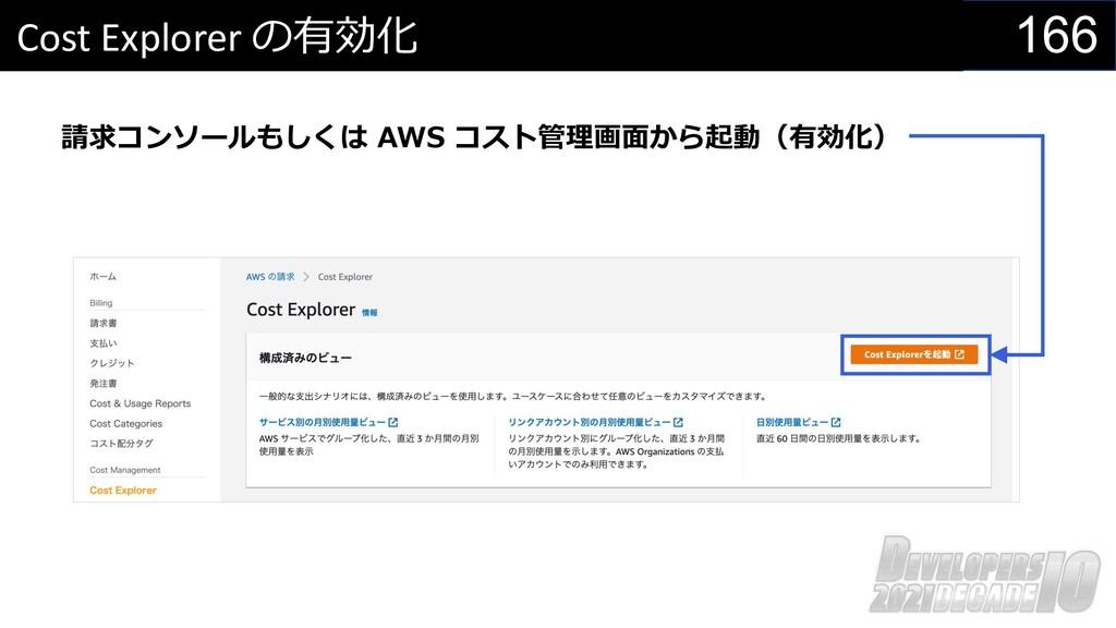 166 Cost Explorer の有効化 請求コンソールもしくは AWS コスト管理画⾯か...