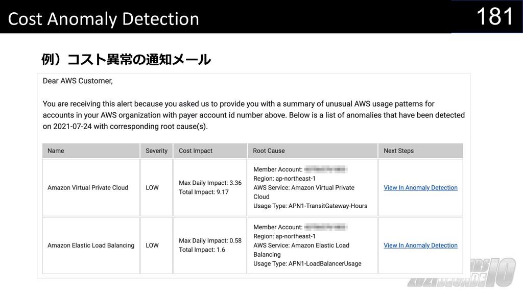 181 Cost Anomaly Detection 例)コスト異常の通知メール