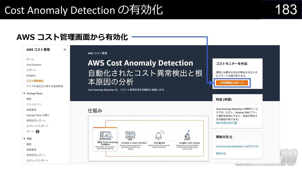 183 Cost Anomaly Detection の有効化 AWS コスト管理画⾯から有効化