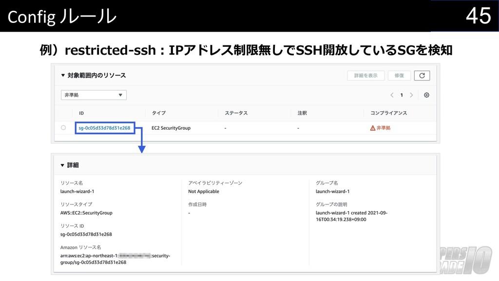 45 Config ルール 例)restricted-ssh︓IPアドレス制限無しでSSH開放...