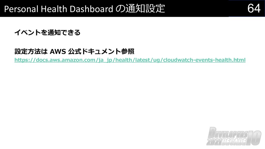 64 Personal Health Dashboard の通知設定 イベントを通知できる 設...