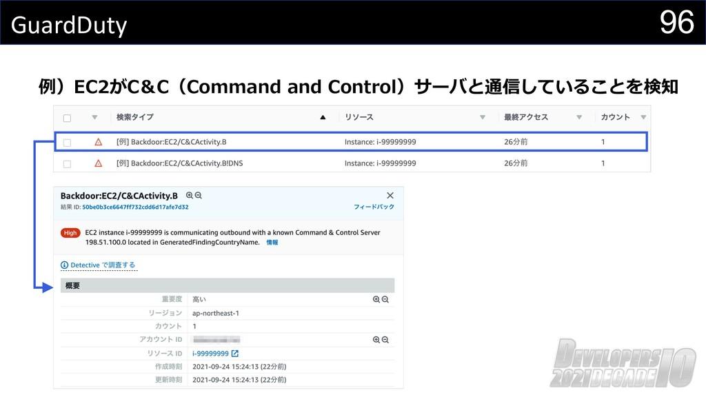 96 GuardDuty 例)EC2がC&C(Command and Control)サーバと...