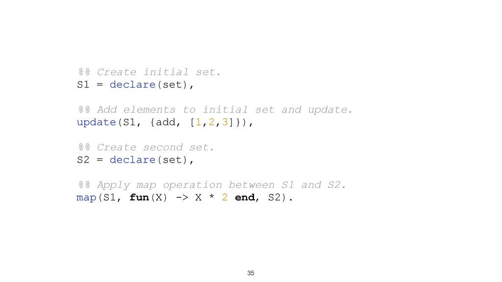 35 %% Create initial set. S1 = declare(set), %%...