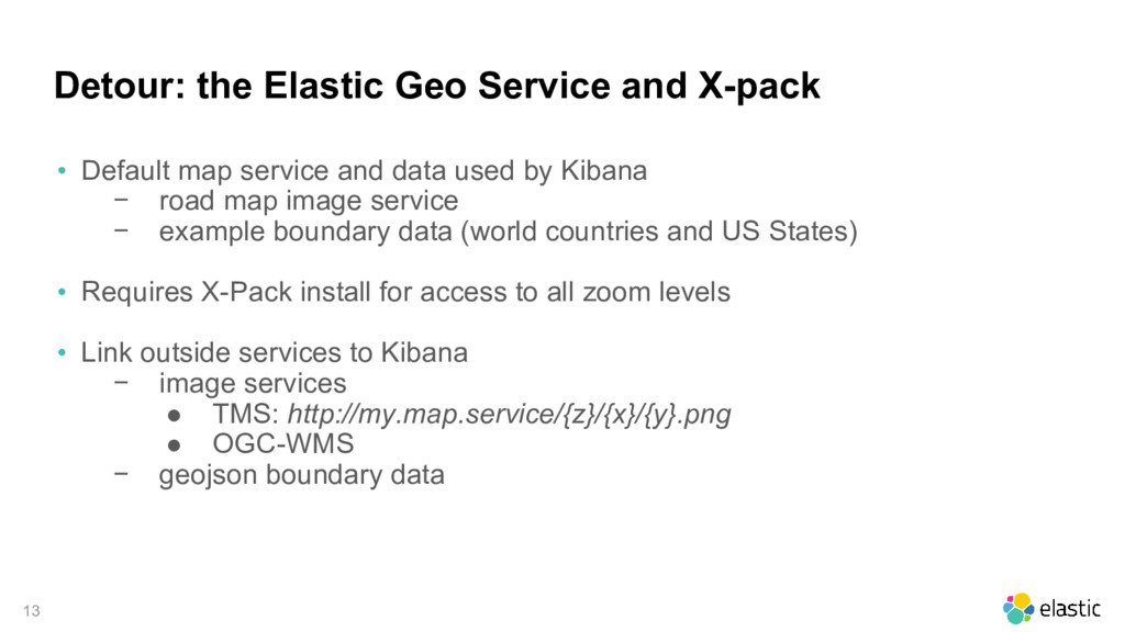 13 Detour: the Elastic Geo Service and X-pack •...