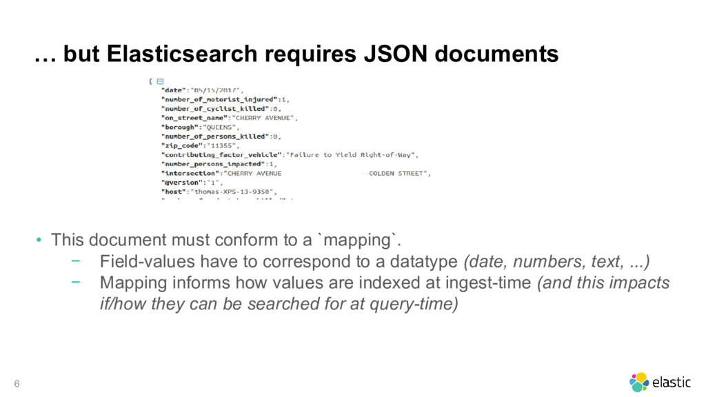 6 … but Elasticsearch requires JSON documents •...