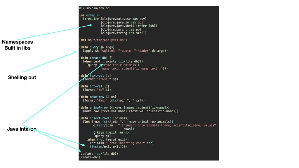 Namespaces Built in libs Shelling out Java int...
