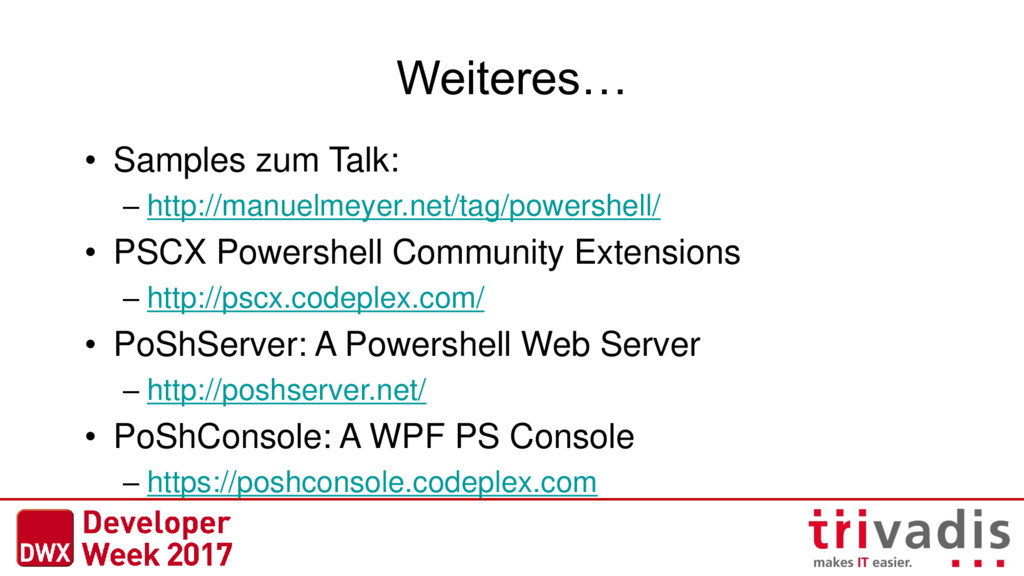Weiteres… • Samples zum Talk: – http://manuelme...