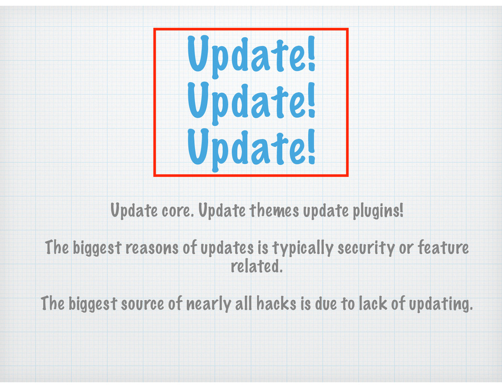 Update! Update! Update! Update core. Update the...