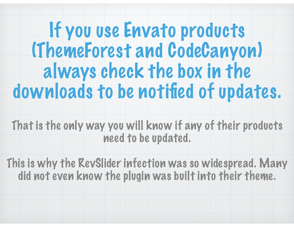 If you use Envato products (ThemeForest and Cod...