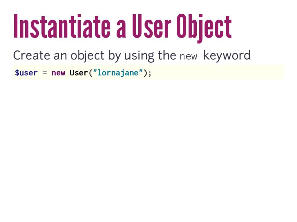 Instantiate a User Object Create an object by u...