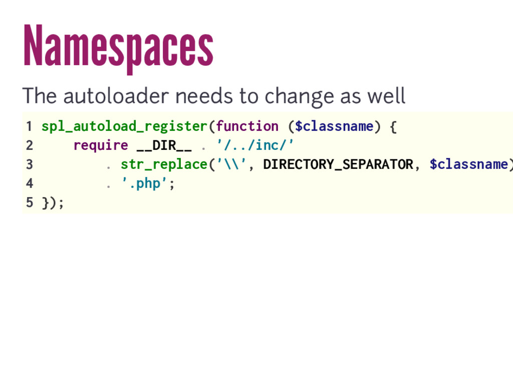 Namespaces The autoloader needs to change as we...