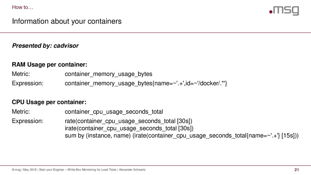 How to… Information about your containers © msg...