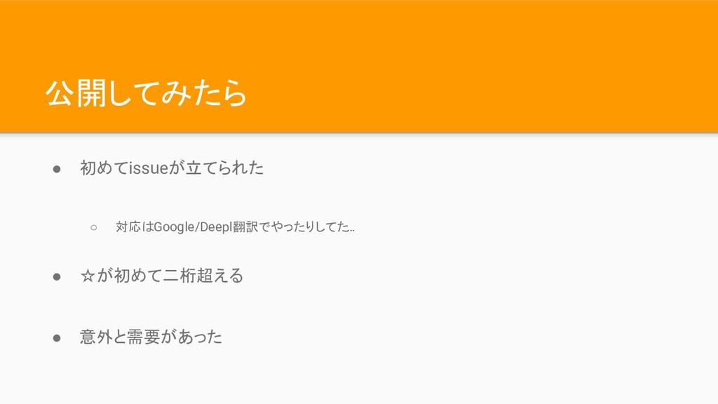 公開してみたら ● 初めてissueが立てられた ○ 対応はGoogle/Deepl翻訳でやっ...
