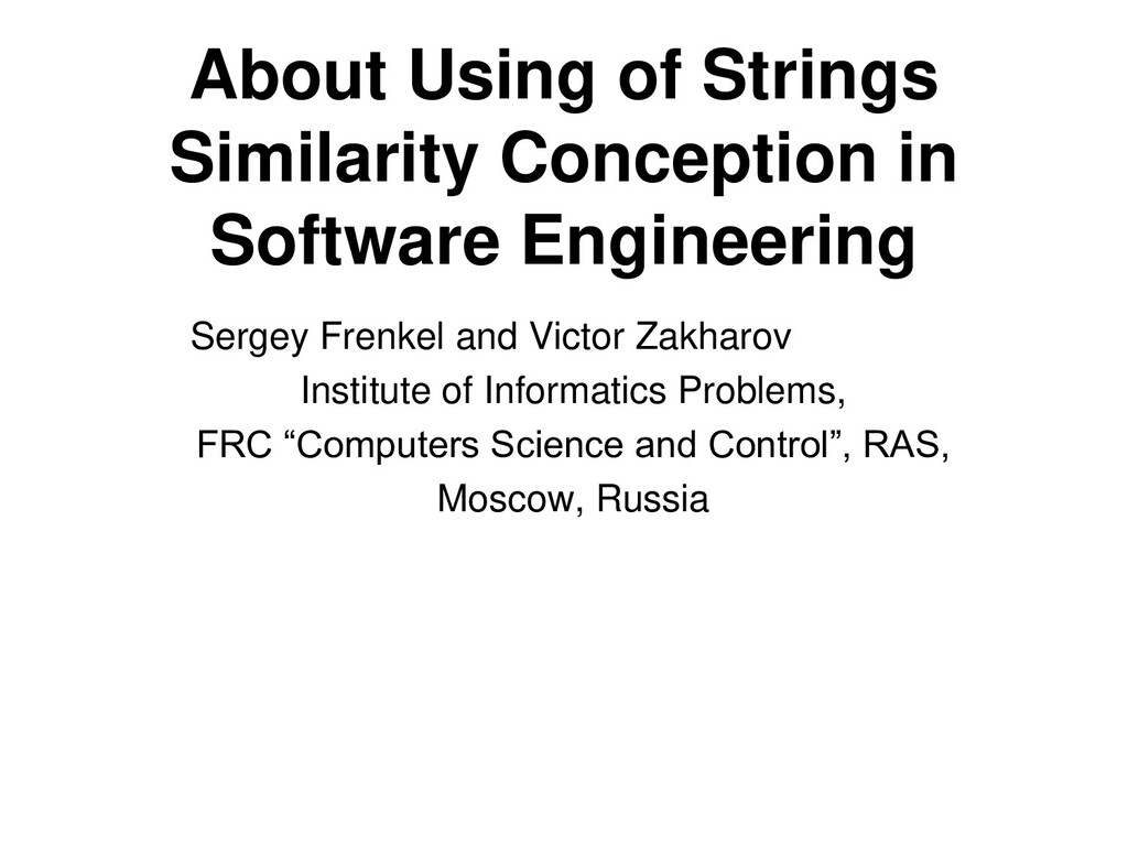 About Using of Strings Similarity Conception in...
