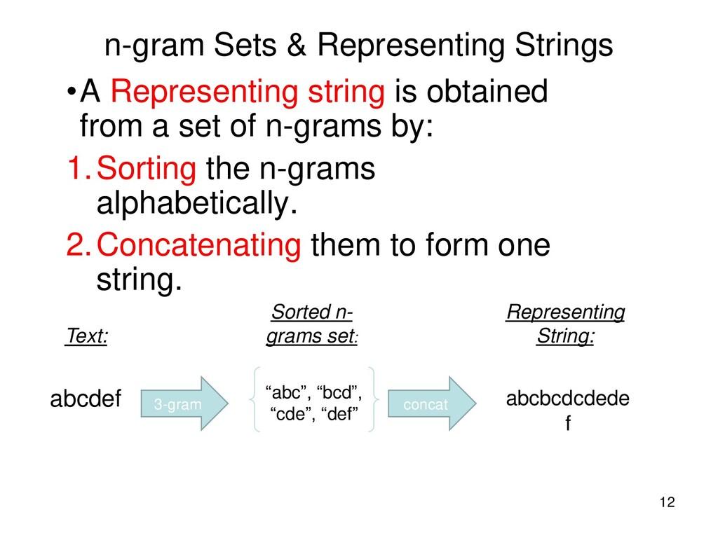 n-gram Sets & Representing Strings •A Represent...