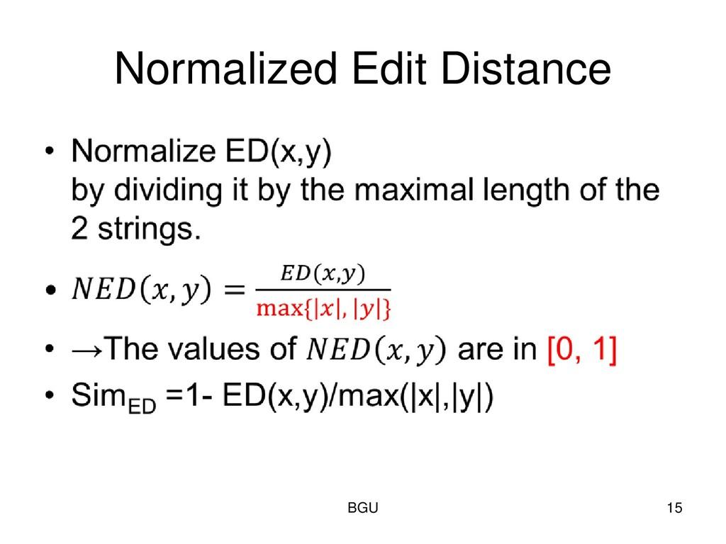 Normalized Edit Distance BGU 15