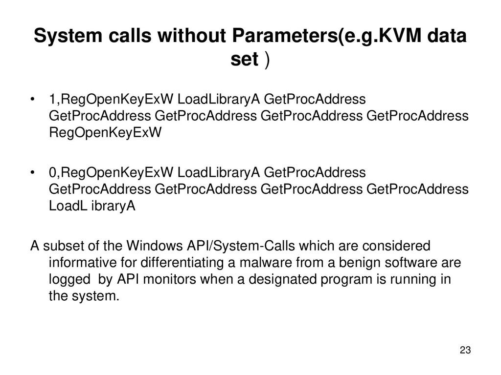 System calls without Parameters(e.g.KVM data se...