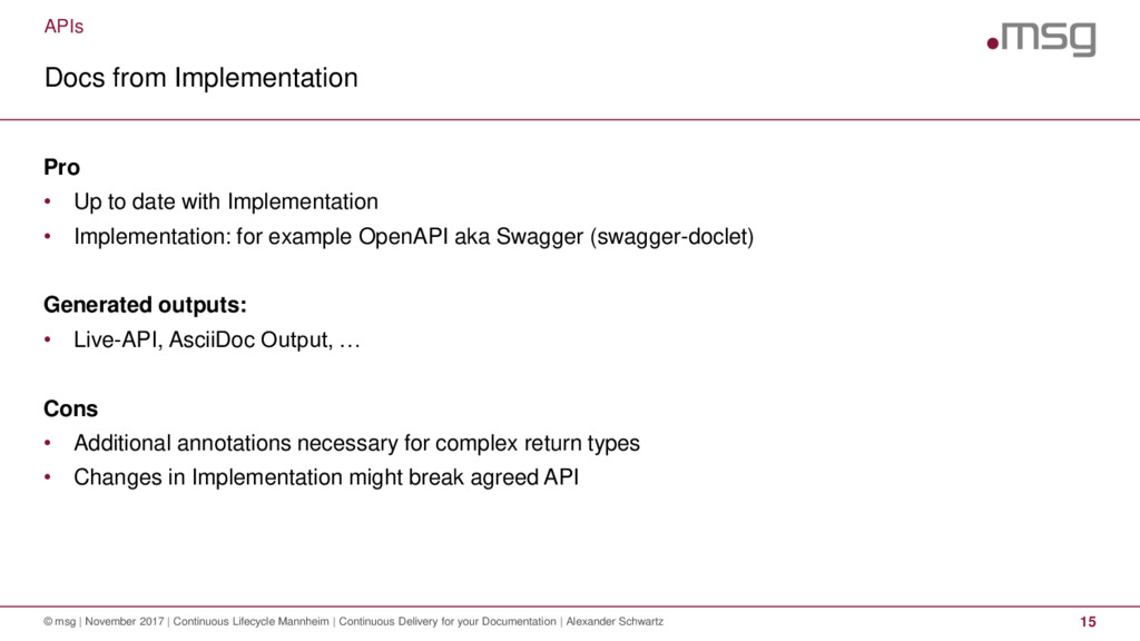 APIs Docs from Implementation © msg | November ...