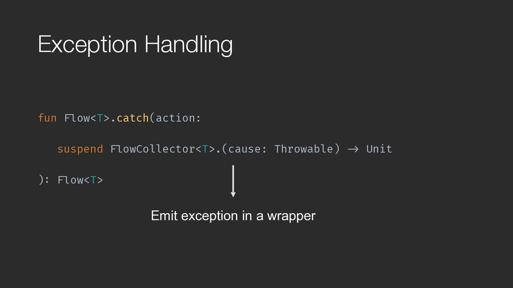 """Exception Handling fun """"Flow<T>.catch(action: s..."""
