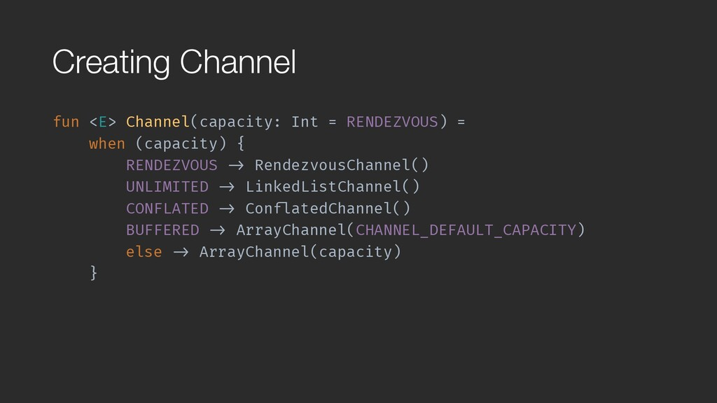 Creating Channel fun <E> Channel(capacity: Int ...