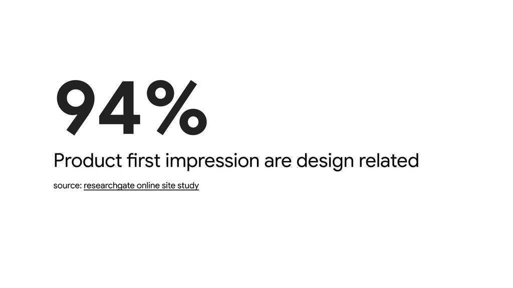 94% Product first impression are design related...