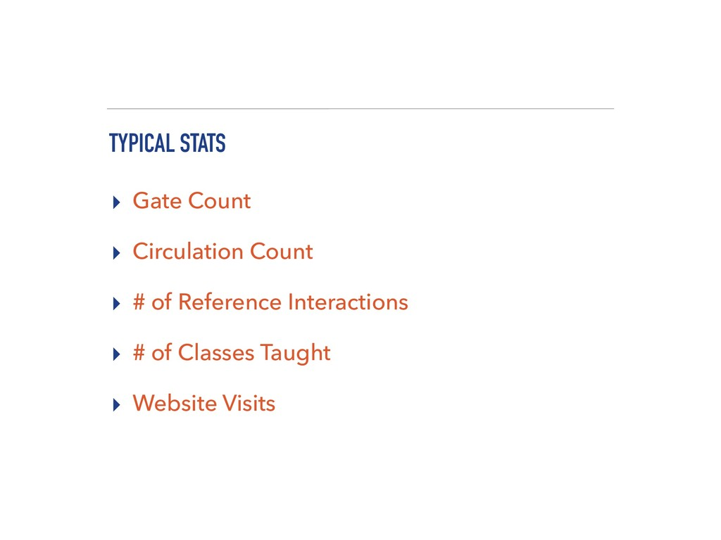 TYPICAL STATS ▸ Gate Count ▸ Circulation Count ...