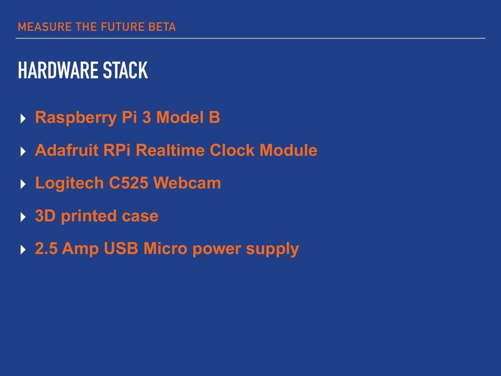 MEASURE THE FUTURE BETA HARDWARE STACK ▸ Raspbe...