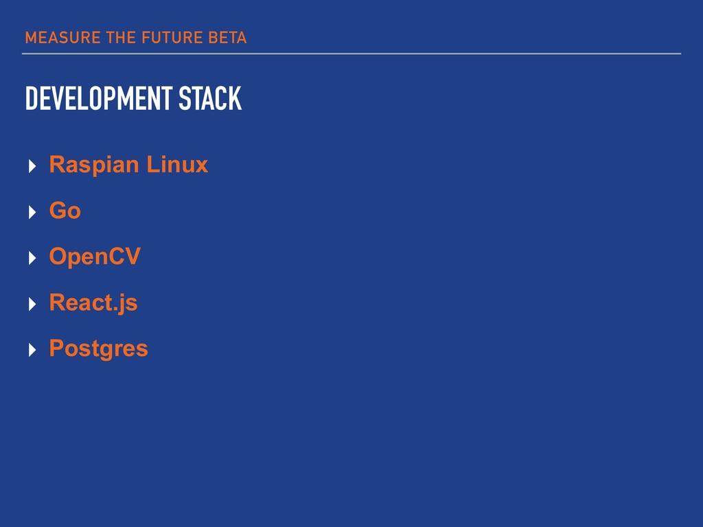MEASURE THE FUTURE BETA DEVELOPMENT STACK ▸ Ras...