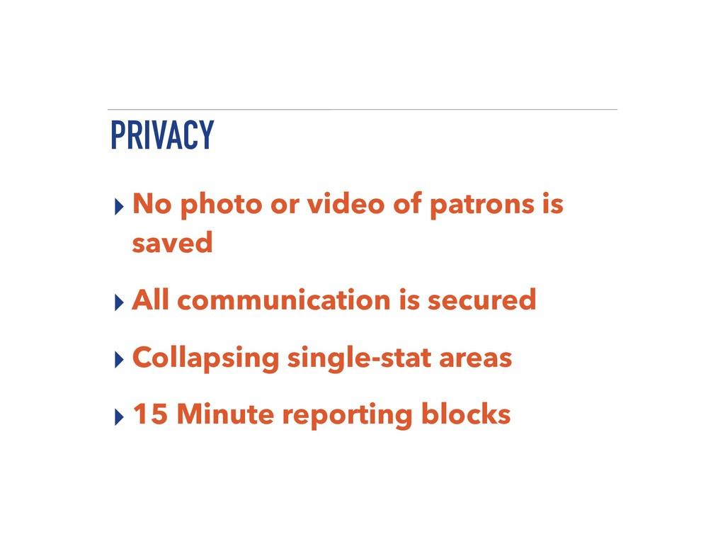 PRIVACY ▸ No photo or video of patrons is saved...