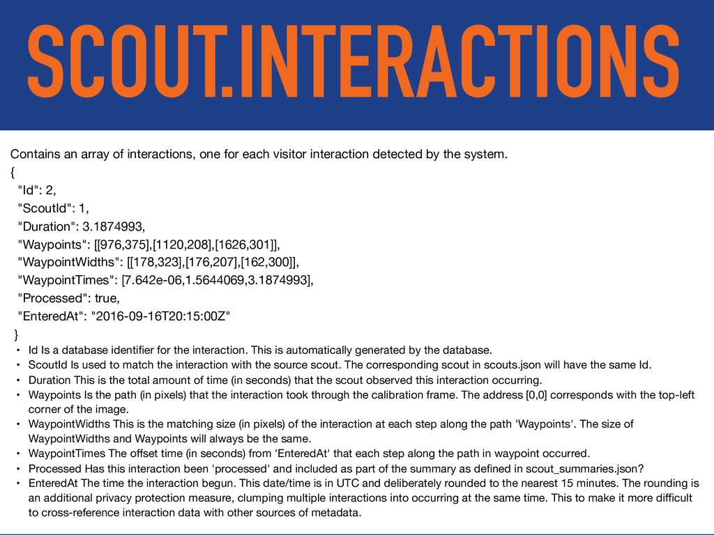 SCOUT.INTERACTIONS Contains an array of interac...