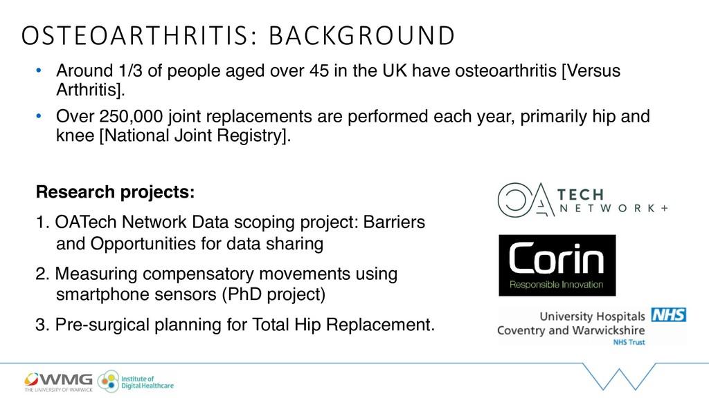 OSTEOARTHRITIS: BACKGROUND • Around 1/3 of peop...
