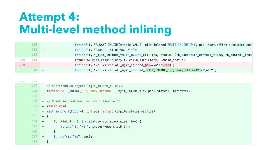 Attempt 4: Multi-level method inlining