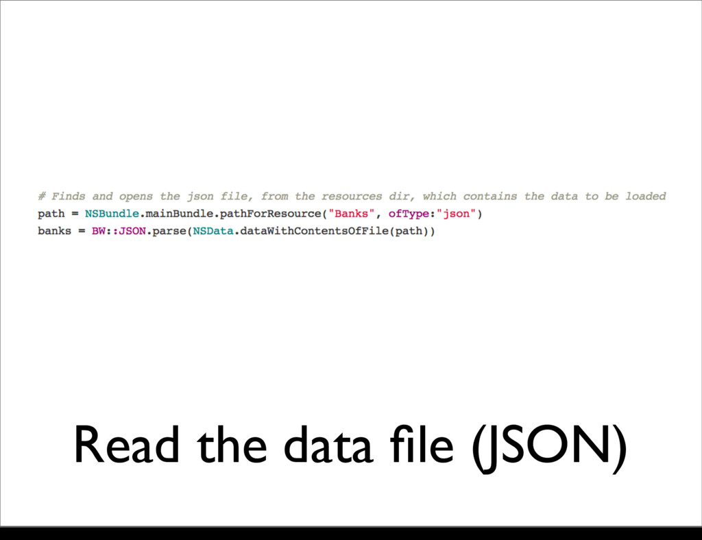 Read the data file (JSON) Monday, 21 October, 13