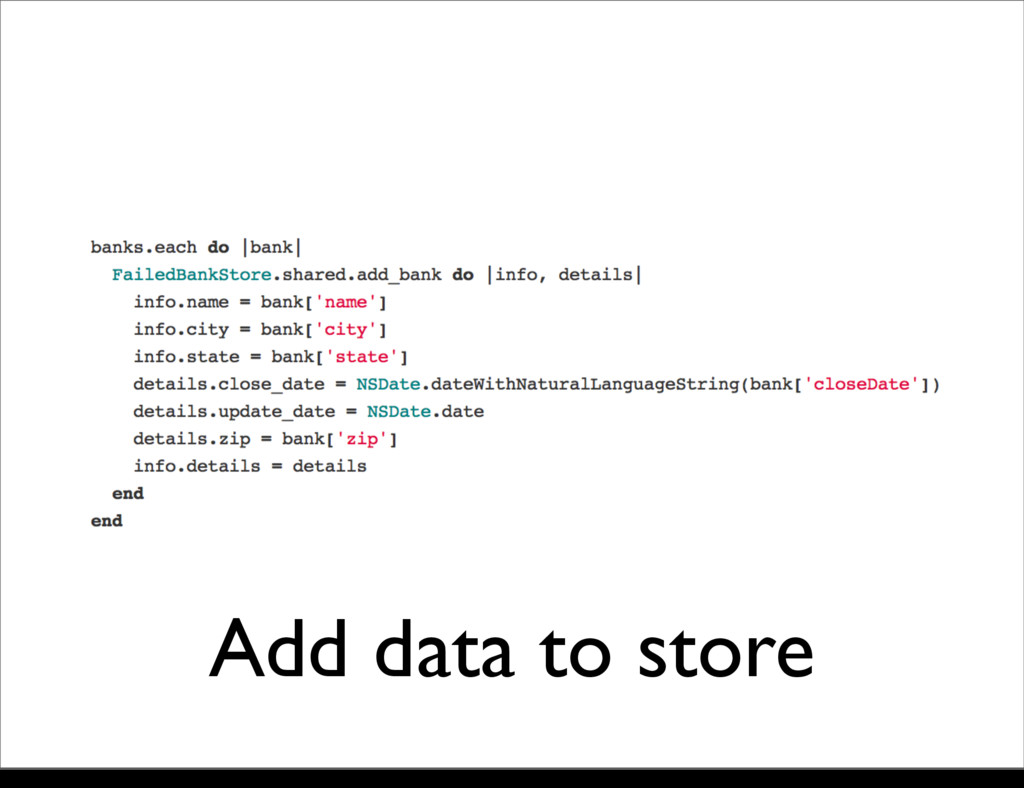 Add data to store Monday, 21 October, 13