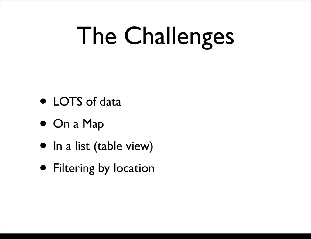 The Challenges • LOTS of data • On a Map • In a...