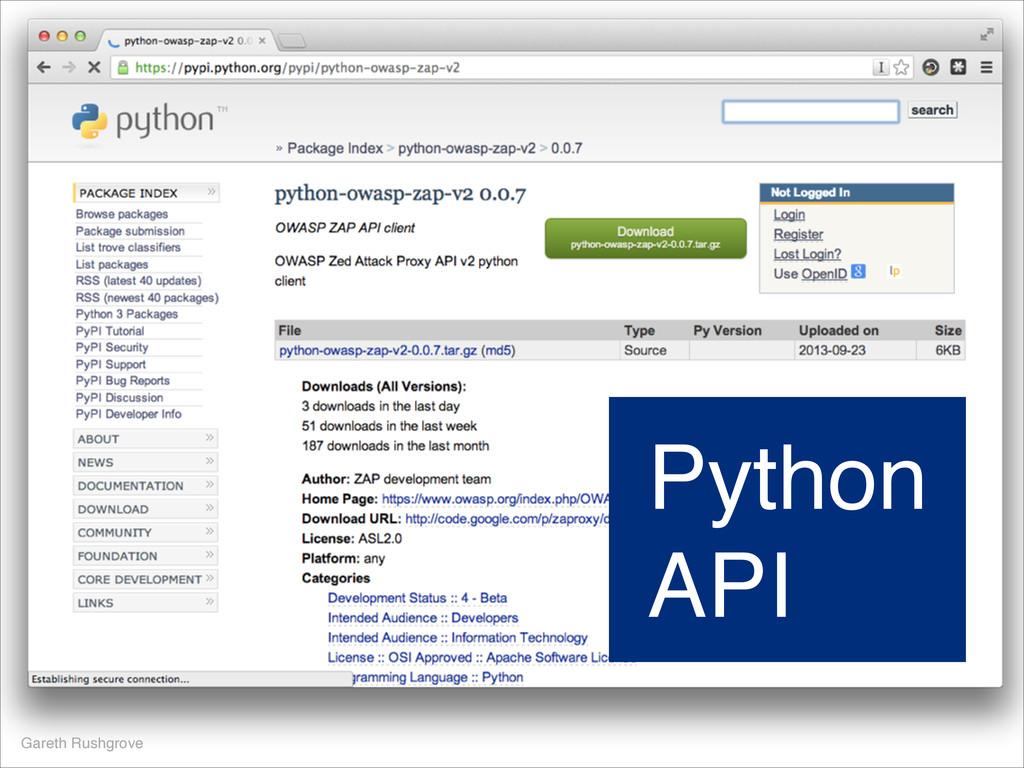 Gareth Rushgrove Python API