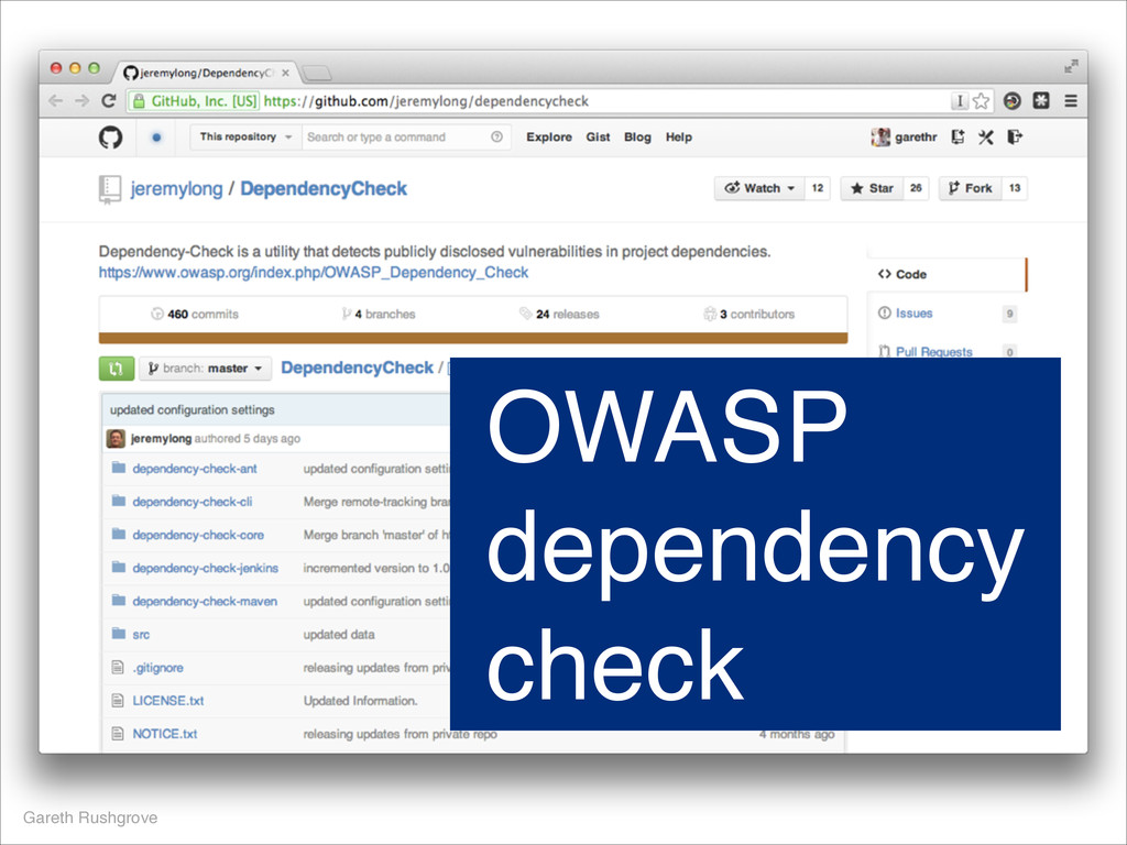 Gareth Rushgrove OWASP dependency check