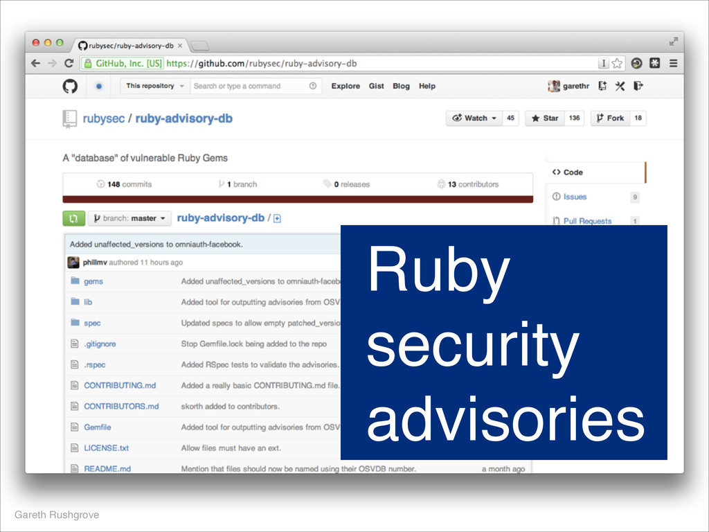 Gareth Rushgrove Ruby security advisories