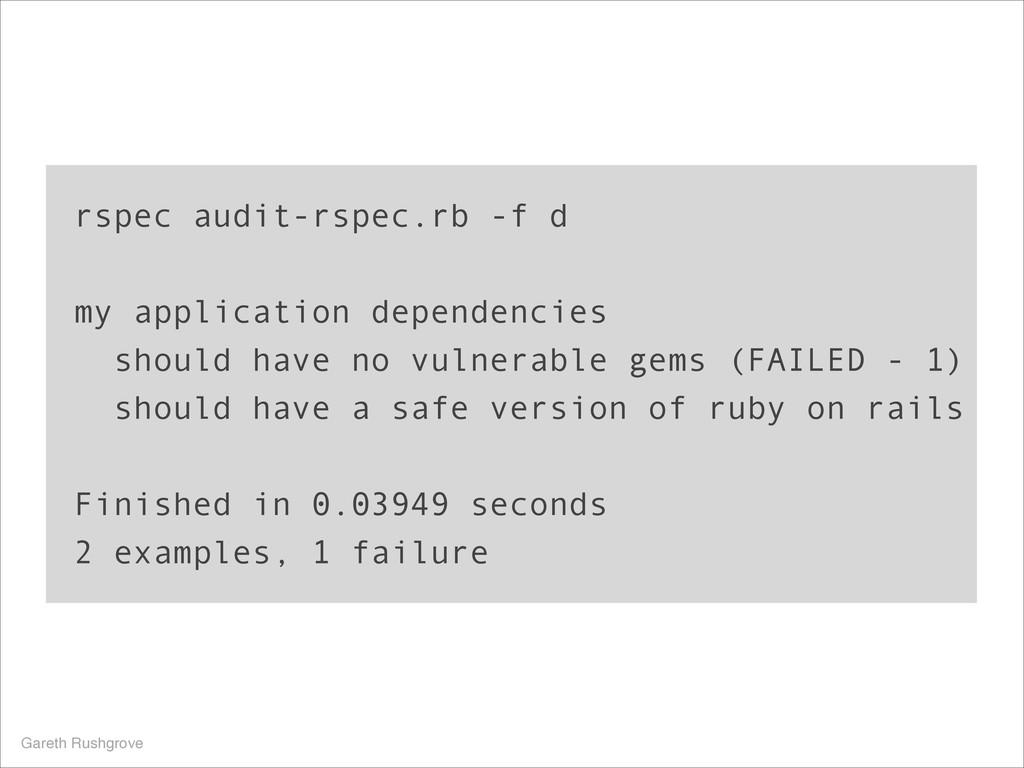 rspec audit-rspec.rb -f d my application depend...