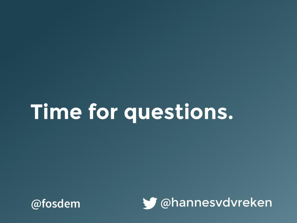 Time for questions. @hannesvdvreken @fosdem