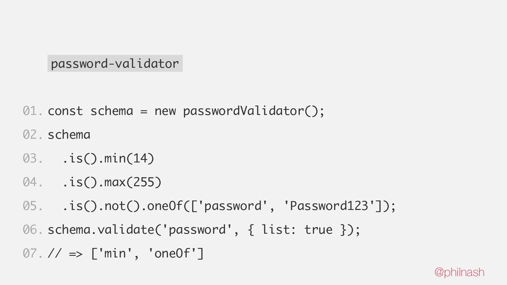 password-validator const schema = new passwordV...