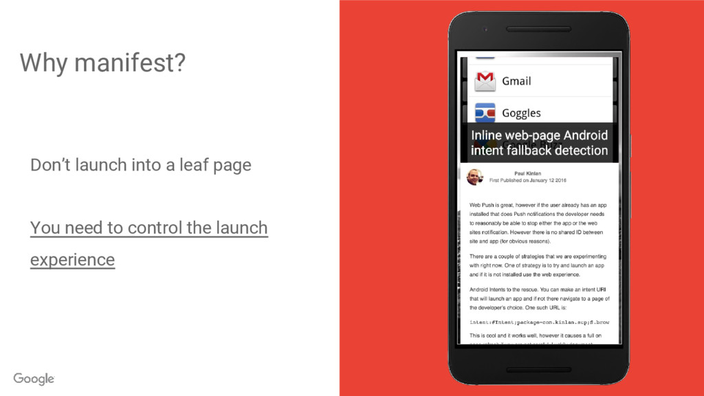 Why manifest? Don't launch into a leaf page You...
