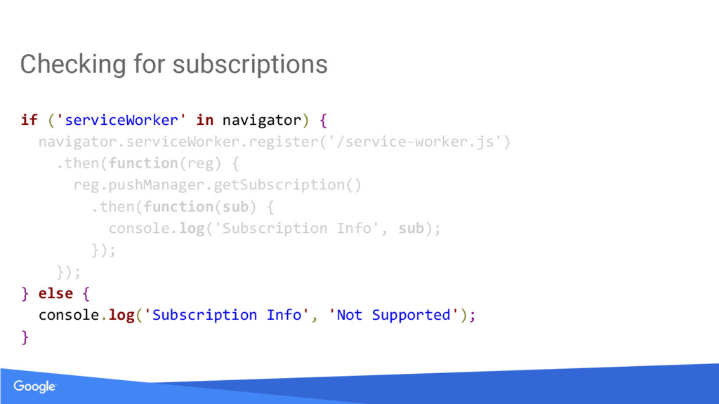 Checking for subscriptions if ('serviceWorker' ...