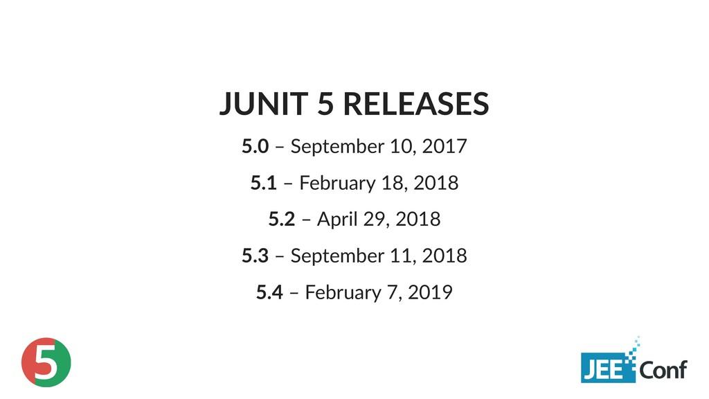 5 JUNIT 5 RELEASES 5.0 – September 10, 2017 5.1...