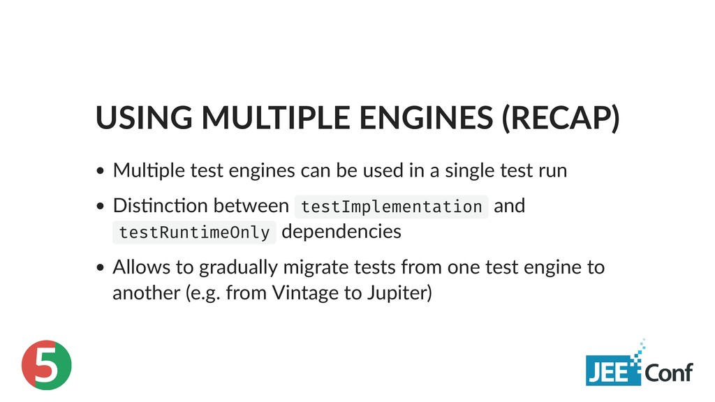 5 USING MULTIPLE ENGINES (RECAP) Mul ple test e...