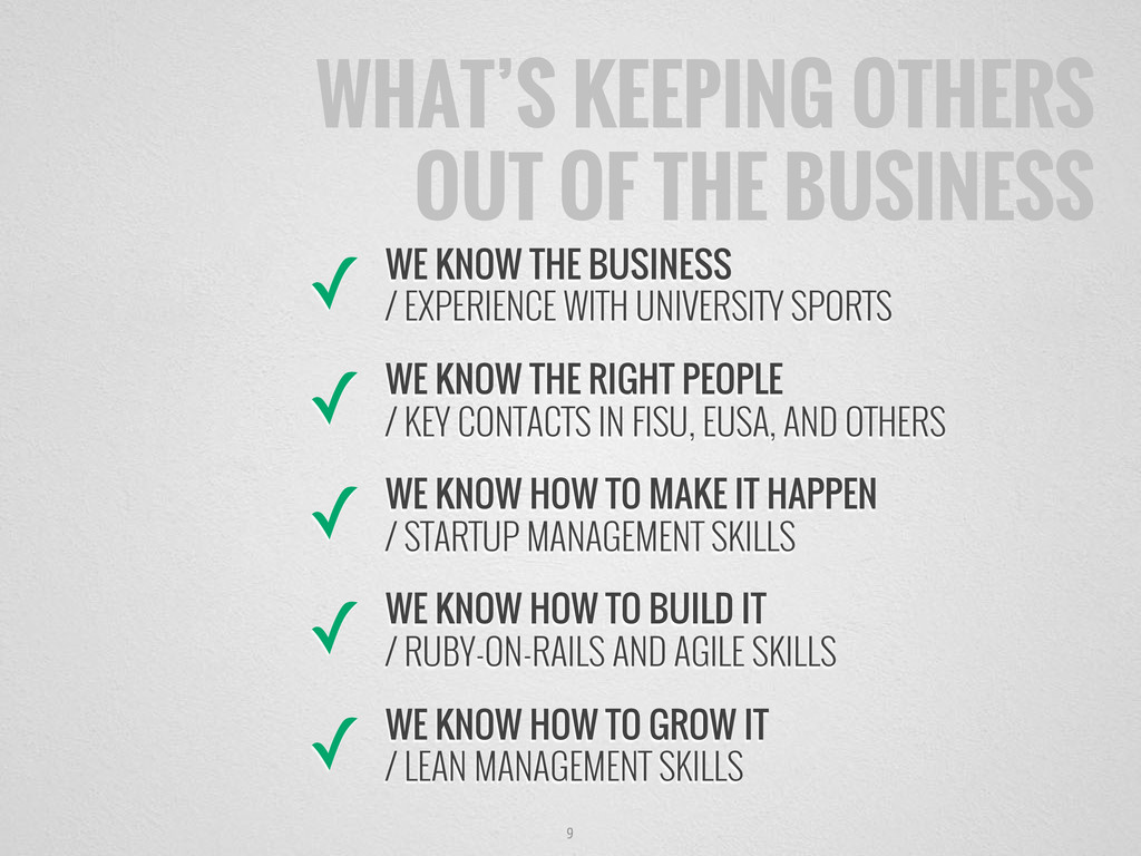 9 WHAT'S KEEPING OTHERS OUT OF THE BUSINESS ✓ W...