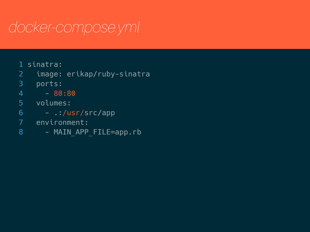 docker-compose.yml 1 sinatra: 2 image: erikap/r...