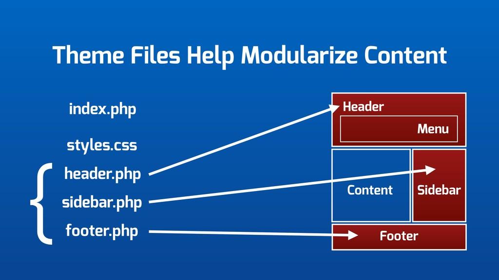 Theme Files Help Modularize Content Header Menu...